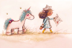 Unicorn and Girl Treasue Map Adventure