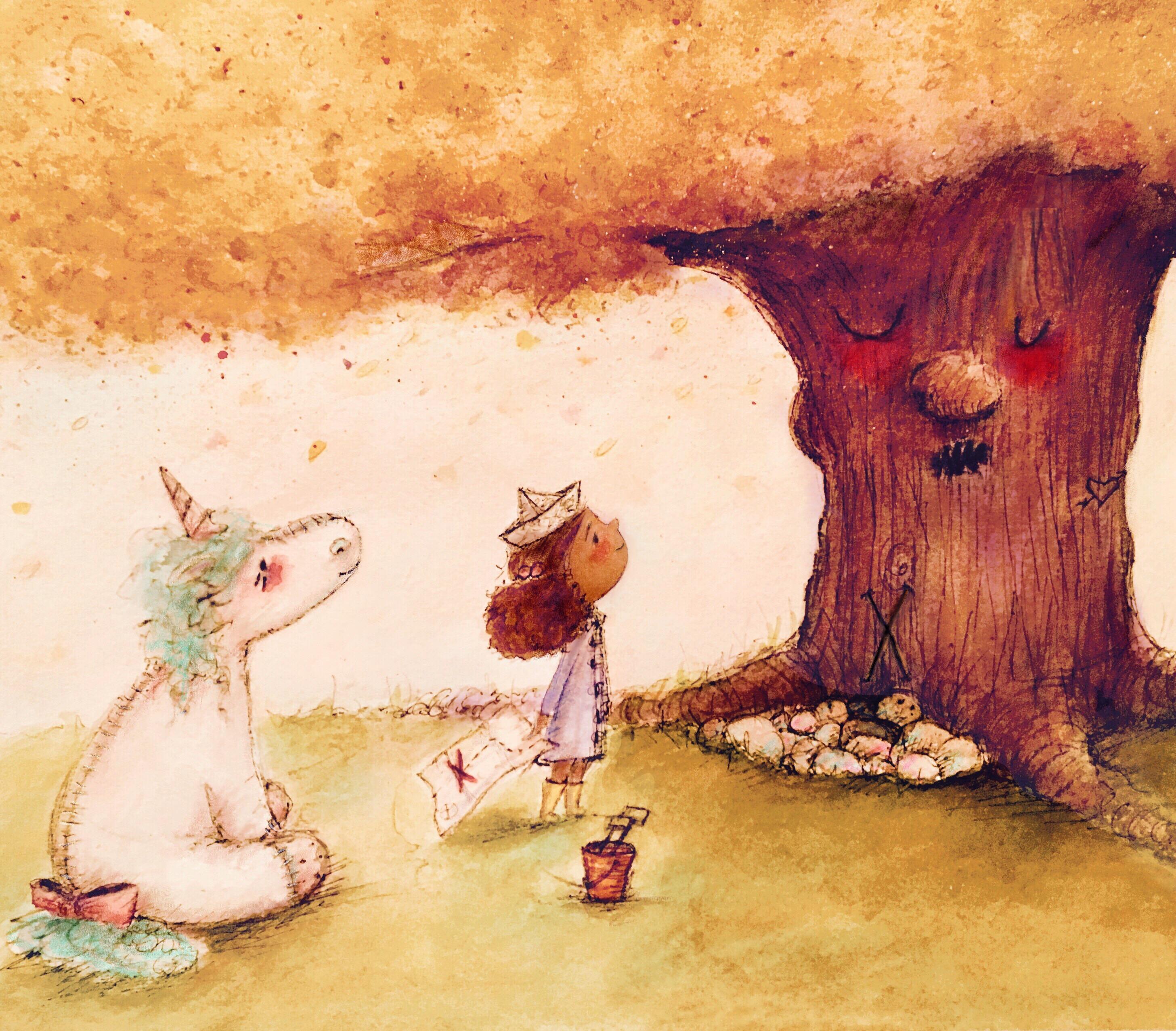 Unicorn and Girl Treasure Map Tree