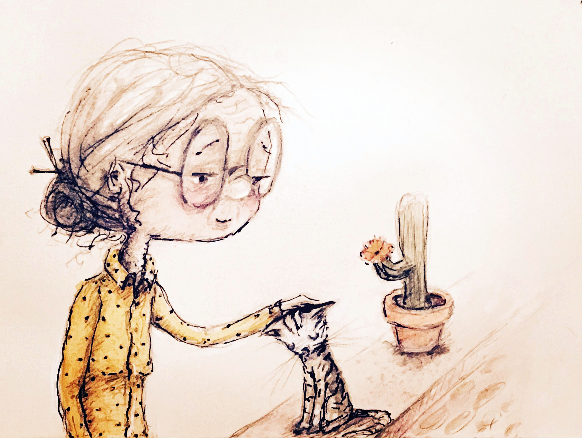 Cat and cactus