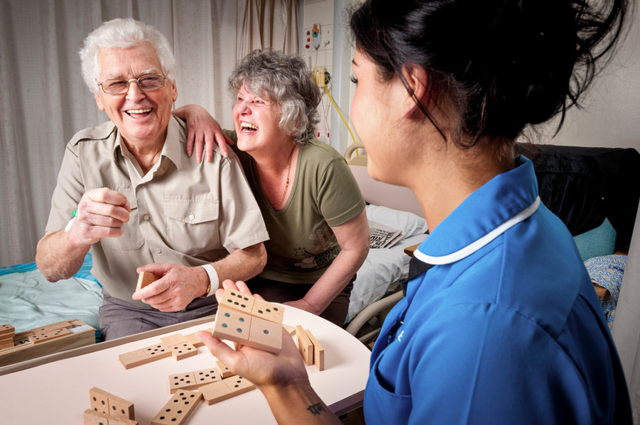 A nurse plays games with patients to assist recovery, Blackpool Hospital