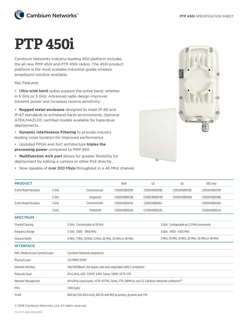 Cambium PTP 450i Specification