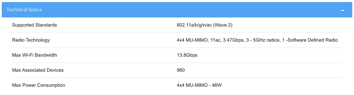 Xirrus XA4-240 wireless indoor access point specs sheet
