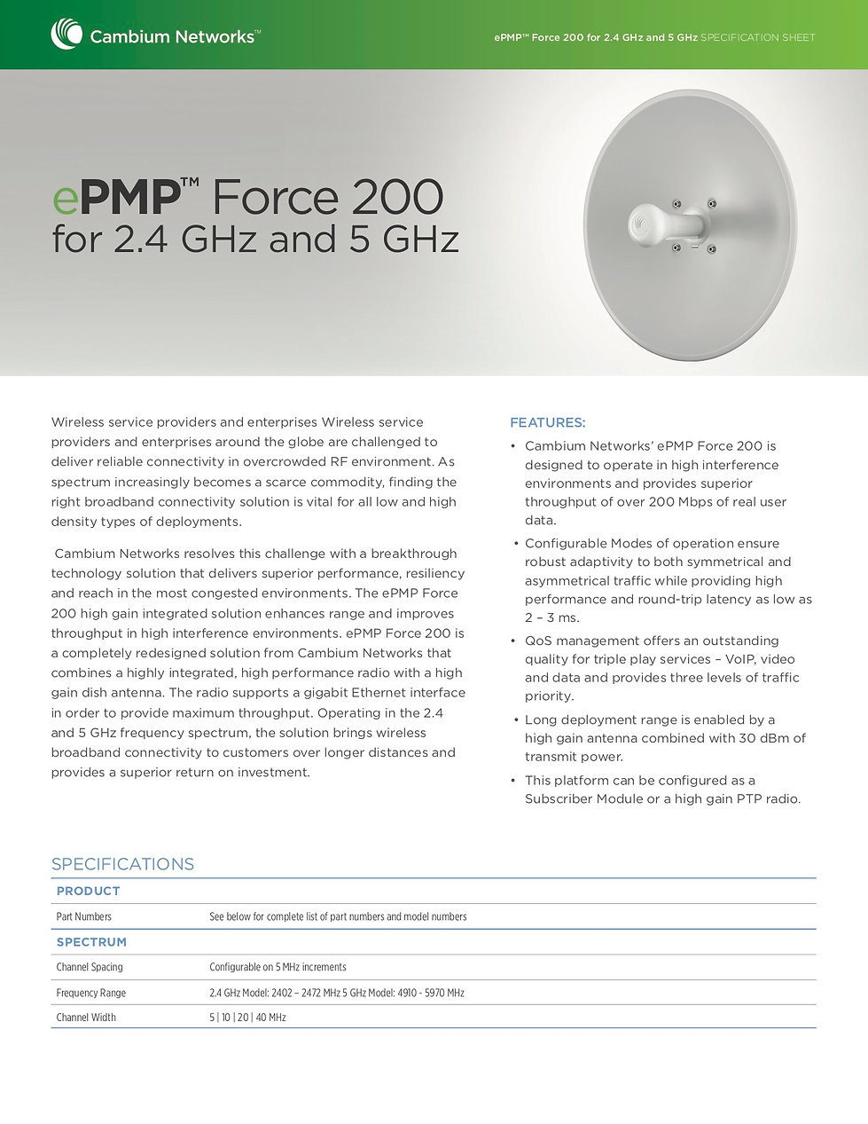 CambiumePMP Force 200 2.4 GHz and 5GHzSpecification