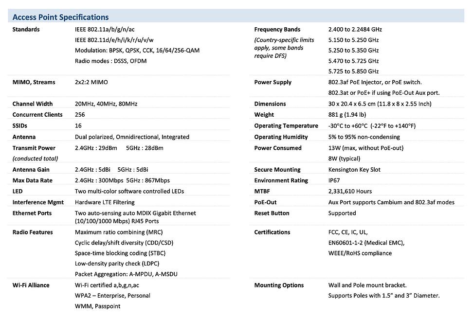 thông số kĩ thuật của Cambium e500