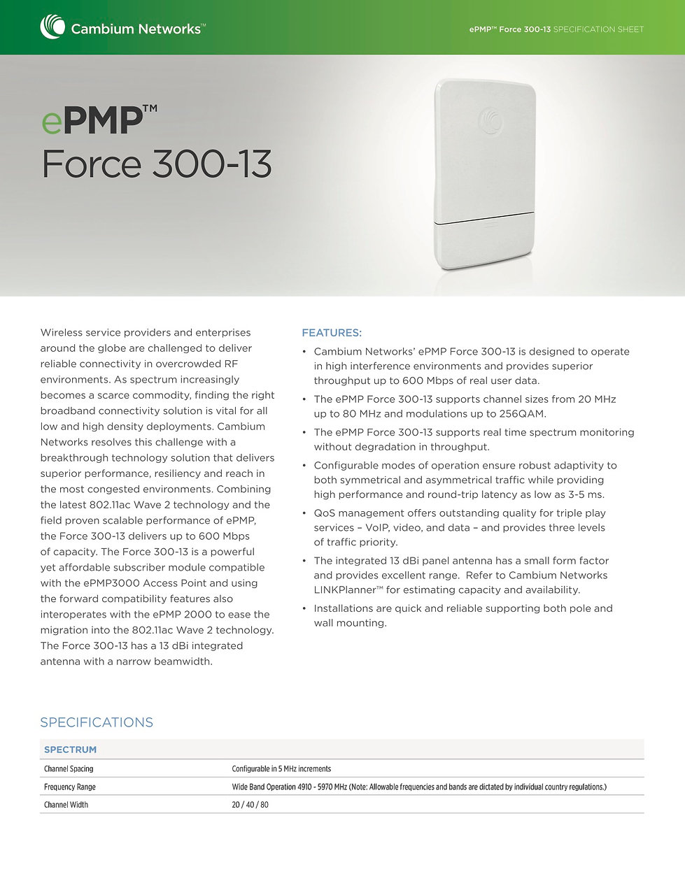 CambiumePMP Force 300-13 Specification