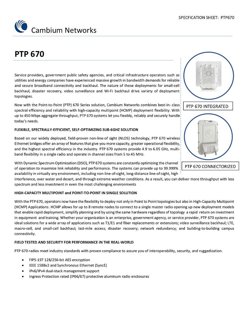 Cambium PTP 550 Specification