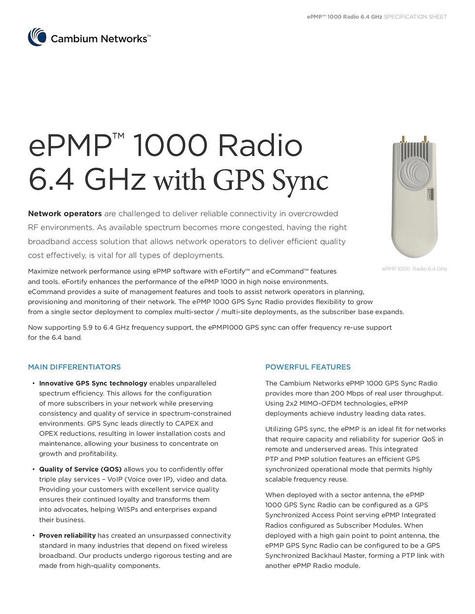CambiumePMP 1000 GPS Sync RadioSpecification