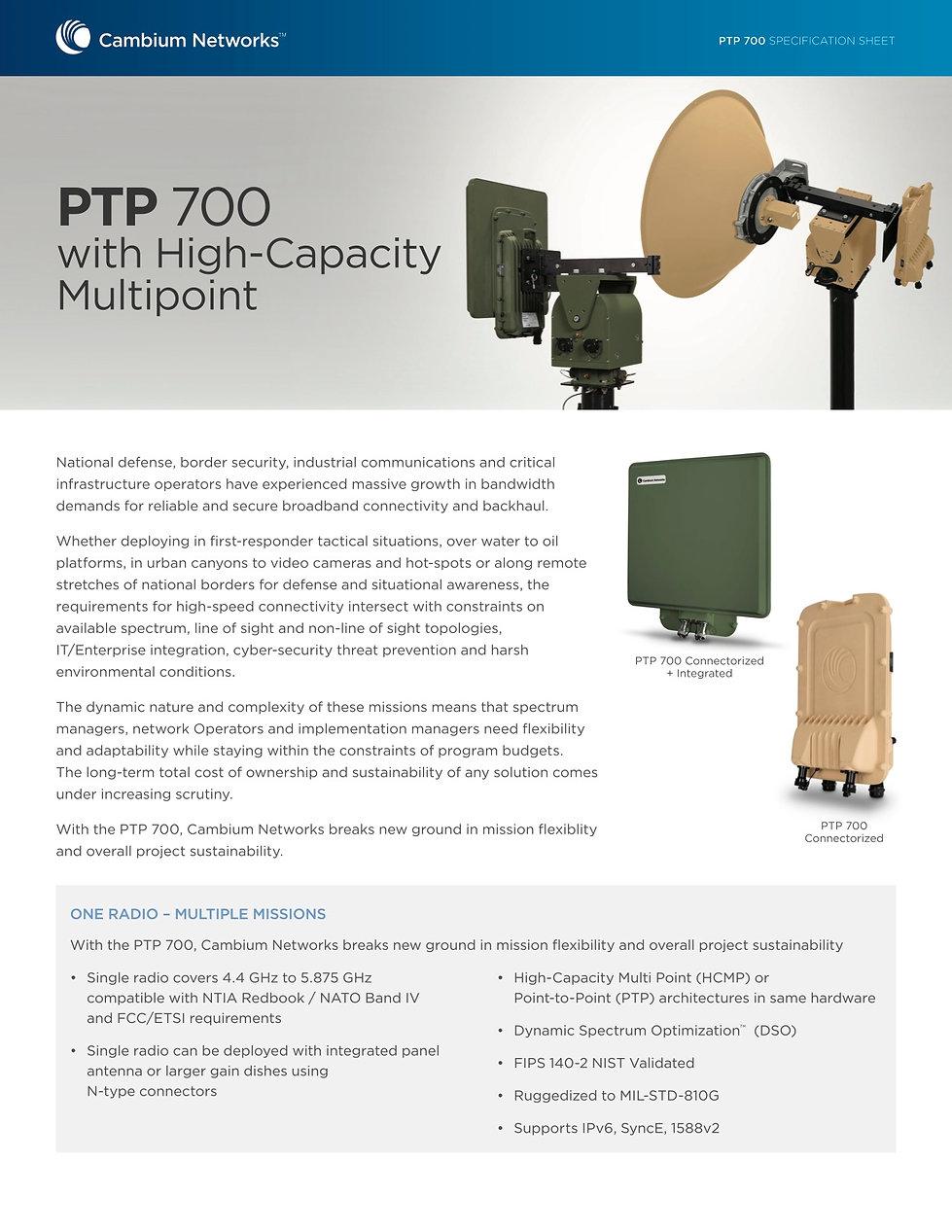 Cambium PTP 700 Specification