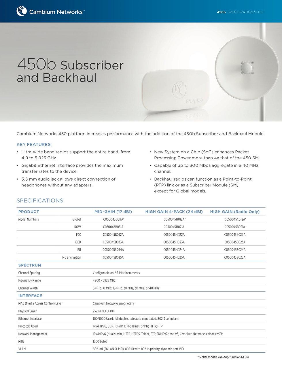Cambium PTP 450b Specification