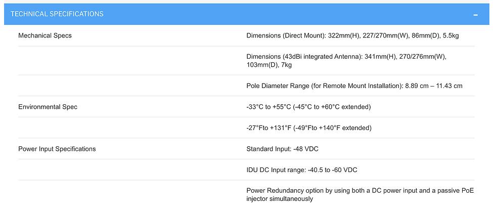 Specifications Cambium Backhaul PTP 850E Millimeter Wave Radio