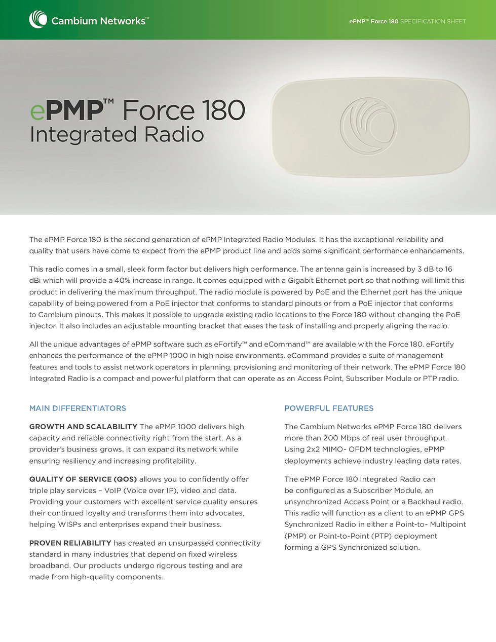 CambiumePMP Force 180 Specification