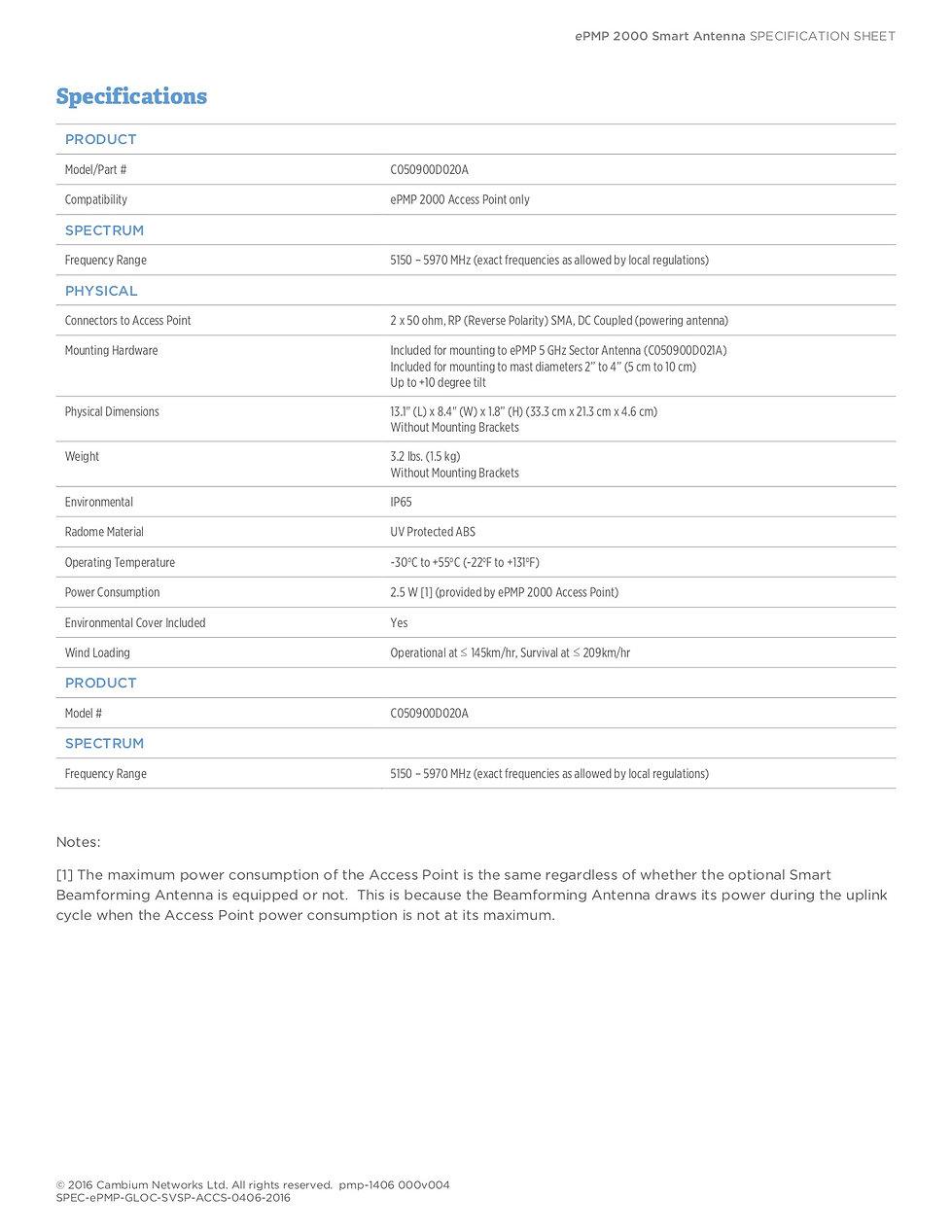 CambiumePMP 2000 Smart AntennaSpecification