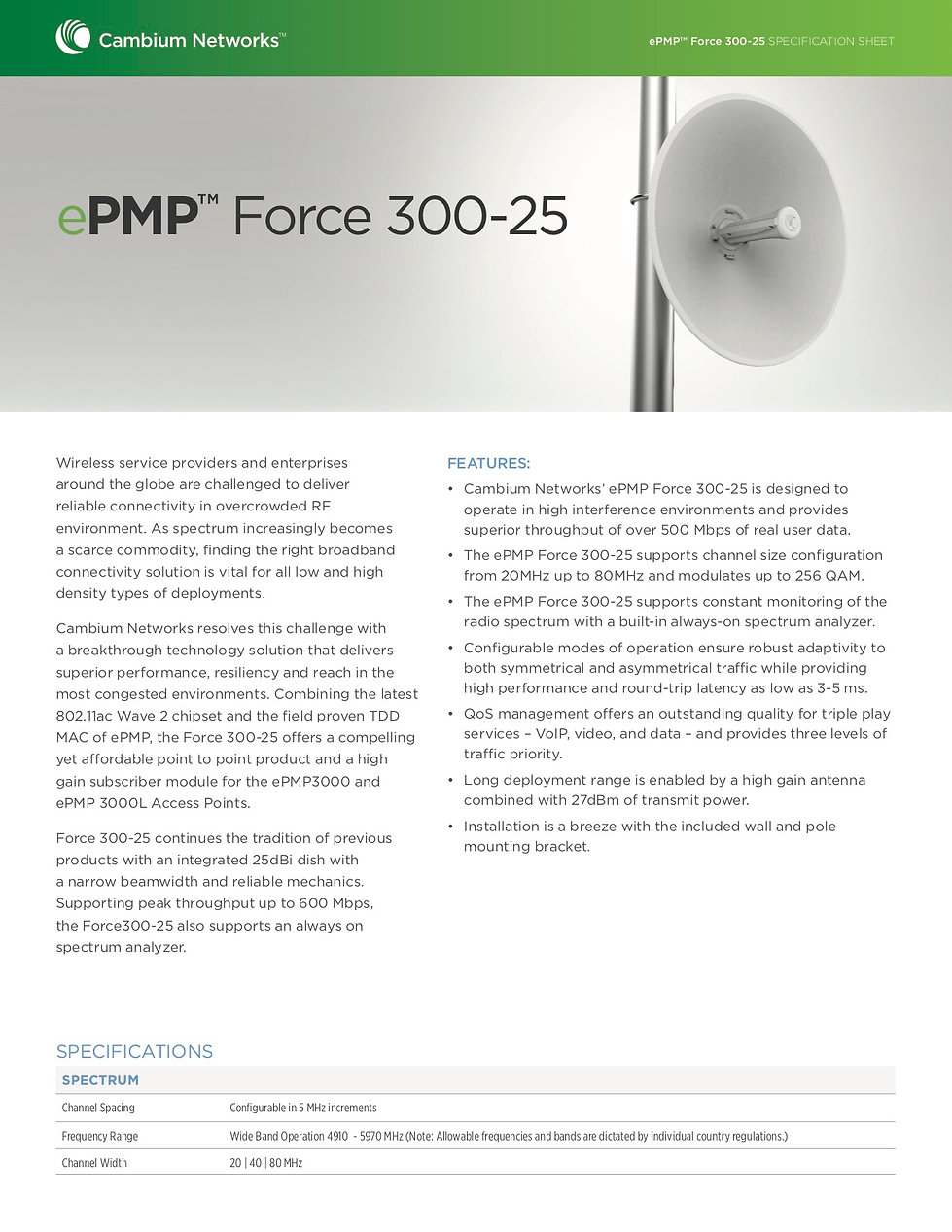 CambiumePMP Force 300-25 Specification