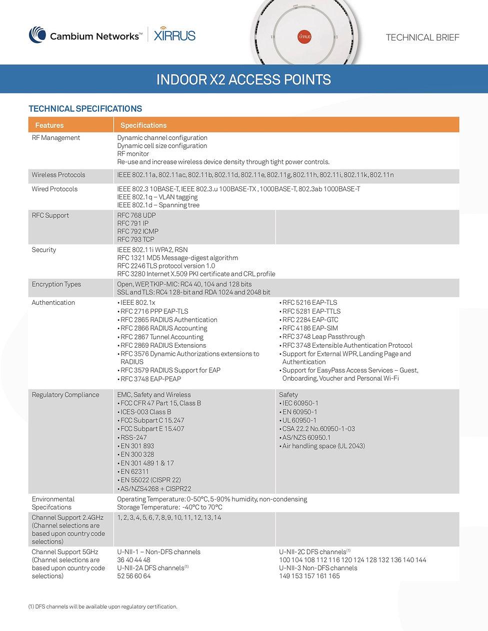 Xirrus X2-120 Indoor AP Specification