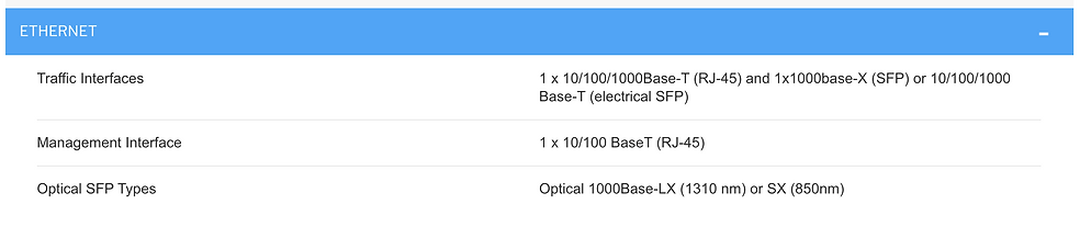 Specifications of Cambium PTP 820C