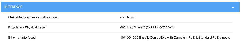 Specifications of Cambium ePMP Force 300-13