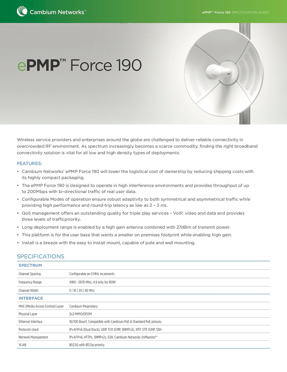 CambiumePMP Force 190Specification