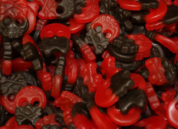 Swedish Raspberry & Liquorice Skulls 1KG