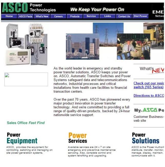 Сайт компании ASCO в 2001 году