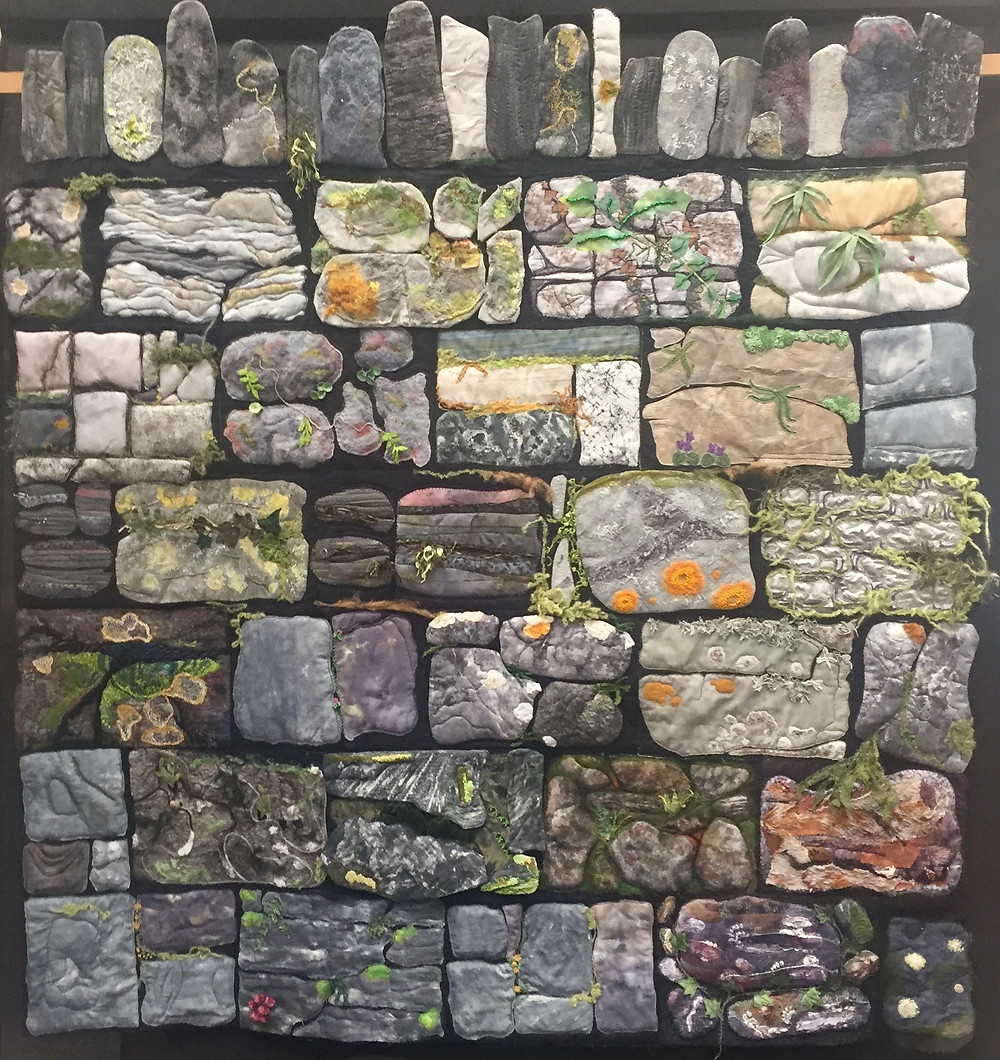 Dry Stone Wall by Exe Valley Contemporary Quilt Group (Group Quilt) 3rd Prize Winner