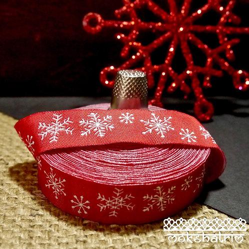 Designer jacquard art ribbon Xmas Christmas white snowflakes bright red dog collars Mokshatrim Haberdashery