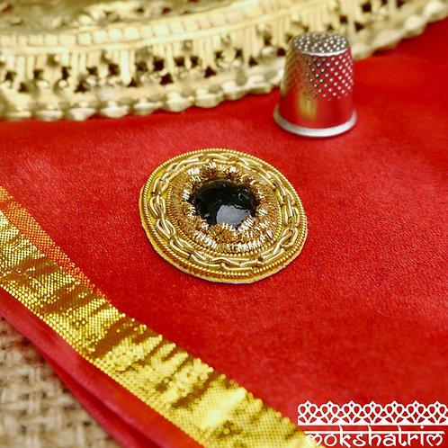 Indian Asian classic ovalappliques gold coilwork large black cabochon bead goldwork zardozi sparkle Mokshatrim Haberdashery