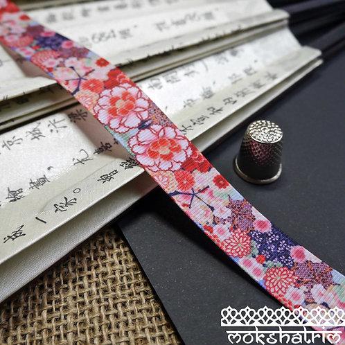 25mm japanese grosgrain chrysanthemum peony flower floral ribbon trim haberdashery mokshatrim