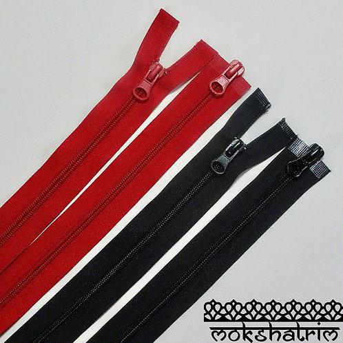 """20"""" (c. 51cm) Red 22"""" (c. 56cm) BlackDoubleended plastic nylon zipper jackets Mokshatrim Haberdashery"""