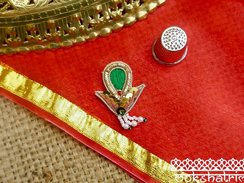 Indian Asian appliques ethnic motif gold coilwork green embroidery red white green yellow bead sequins Mokshatrim