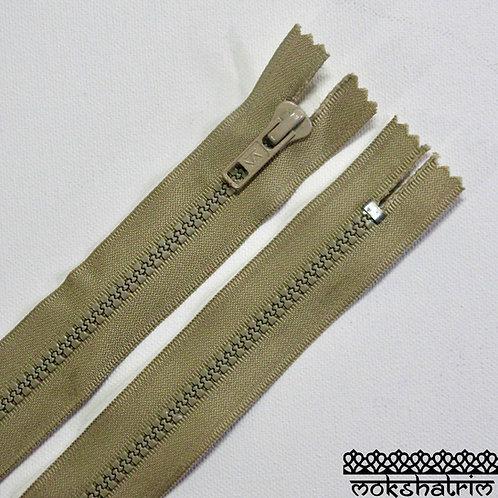 "8"" (c. 20.3cm) Beige closed end chunky YKK plastic heavy duty nylon zipper suitable for trousers, dresses, skirts, pockets"