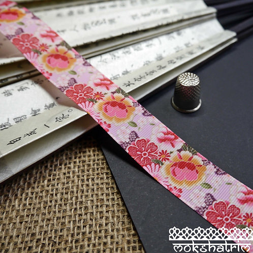 25mm japanese grosgrain flower floral ribbon trim bridal wedding haberdashery mokshatrim
