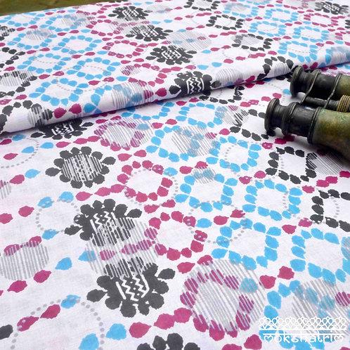 Digitally printed ethnic african wax fabric ankara circle spot design magenta pink turquoise black grey white Mokshatrim