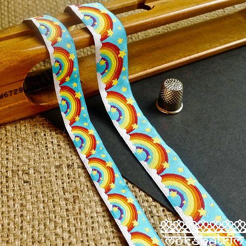 rainbow cloud stars art jacquard ribbon dog collar Mokshatrim haberdashery
