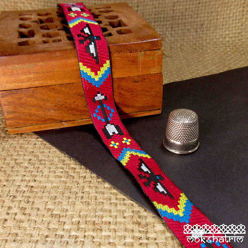 Traditional Native American Indian stylejacquard ribbon eagle arrow motif black white yellow turquoise blue Mokshatrim Ethni