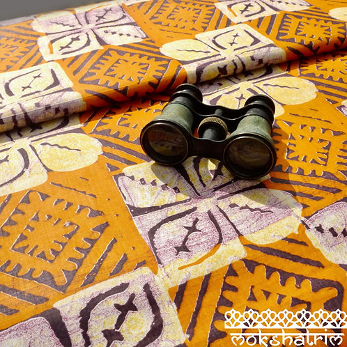 Orange Burgundy square flower floral batik printed ethnic african wax fabric ethnic cotton ankara Mokshatrim Haberdashery