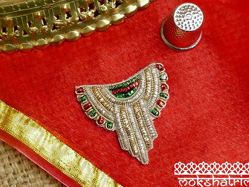 Indian Asian goldwork appliques ethnic motif in silver gold red green coilwork art deco zardozi Mokshatrim Haberdashery