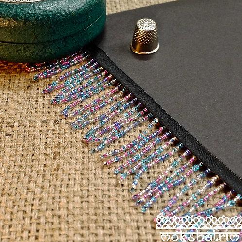 Beaded trim/fringe assortment multicolour seed beads cerise pink silver turquoise blue Mokshatrim Haberdashery