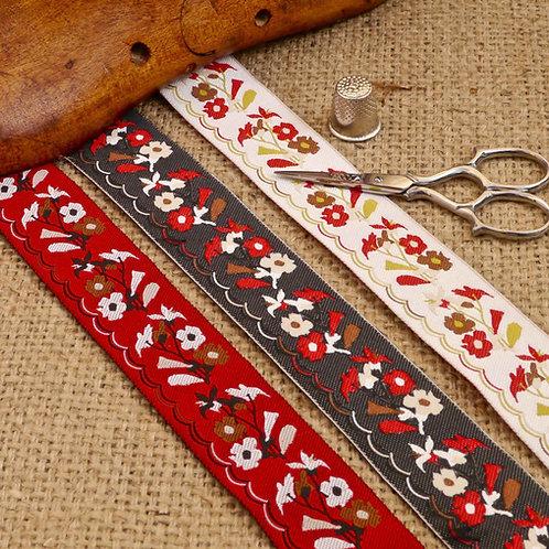 Red Ivory Black Indian jacquard ribbon retro 60s vintage design flowers floral Mokshatrim Haberdashery