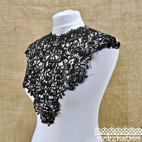 Large Black Lace Guipure Abstract Neckline Collar Applique for Top, Tunic, Kaftan Mokshatrim Haberdashery Ethnic Exotic