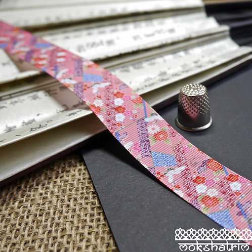 25mm japanese grosgrain crane fan butterfly flower ribbon pink trim haberdashery mokshatrim