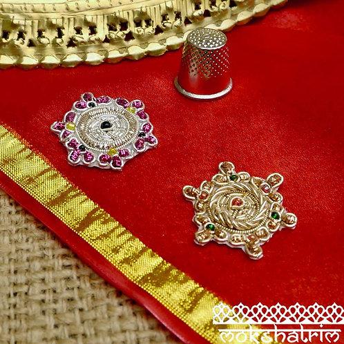 Indian Asian circular appliques zardozi patch geometric gold silver coilwork beaded Mokshatrim Haberdashery