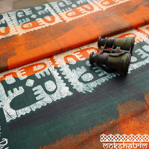 Orange Black Bird Printed Native American batik tribal african wax ankara mokshatrim ethnic fabric cotton