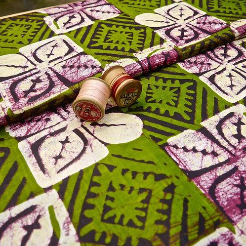 green aubergine leaf batik tribal african wax ankara mokshatrim fabric cotton