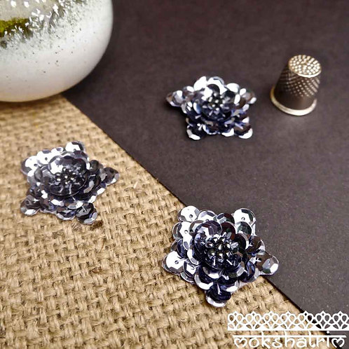 Flower floral applique patch metallic gunmetal faceted sequins arranged in overlapping layers central beading Mokshatrim