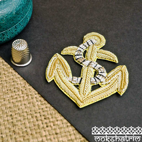 Indian Asian Silver Goldwork anchor appliques gold silver coilwork black embroidery sailor costume Mokshatrim Haberdashery