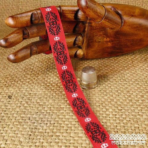Art jacquard ribbon baroque design black white scroll motif bright red dramatic Mokshatrim ethnic Exotic Haberdashery