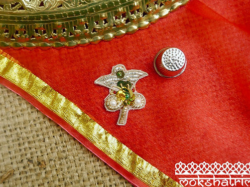 Indian Asian floral flower applique gold coilwork sequins sparkle Red green pearl-like beads Zardozi Mokshatrim Haberdashery