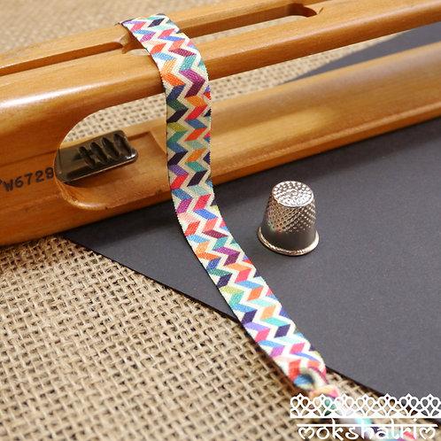 Tribal Zig Zag Heat Transfer Printed Elastic Spandex Trim Multicoloured Rainbow Bias Binding Mokshatrim Haberdashery
