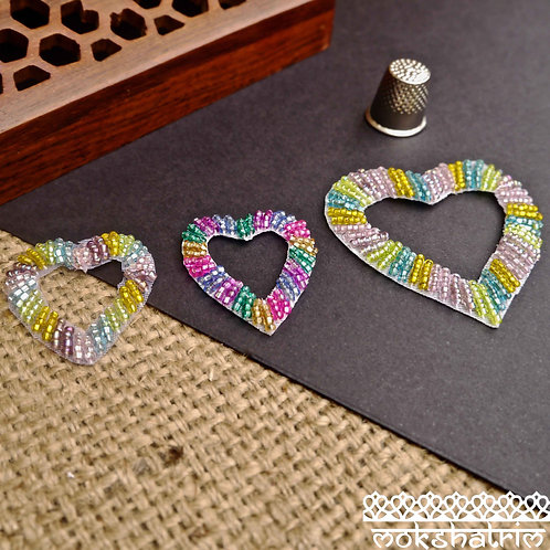 Beaded Applique patch heart-shaped cut-out centre rainbow Beading beads Yellow Green Pink Pastel Upcycling Children T-shirt