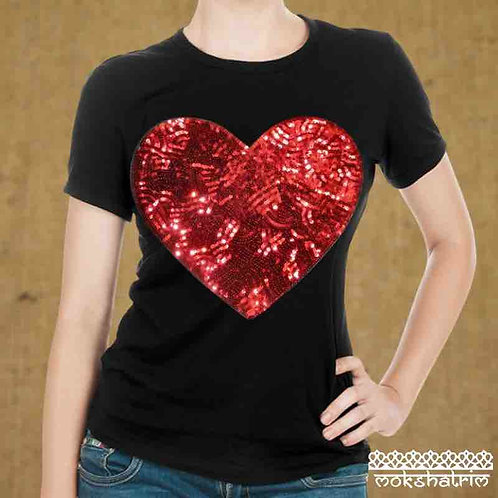 Large Iron-On Red Heart Sequin applique patch sparkle ethnic haberdashery Mokshatrim